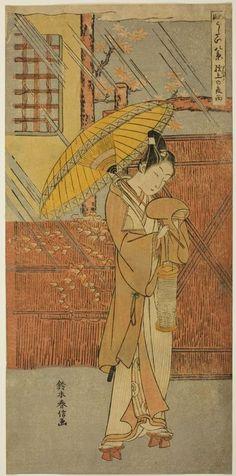 Suzuki HarunobuTitle:Night Rain of Genjô (Genjô no yau), from the series Fashionable Eight Views of Nô Plays (Fûryû utai hakkei)Date:1768-69 #japan_painting #Suzuki_Harunobu