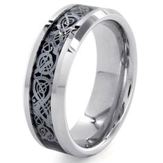 Cobalt and Tungsten Black Inlaid Scroll Design Ring | Overstock.com