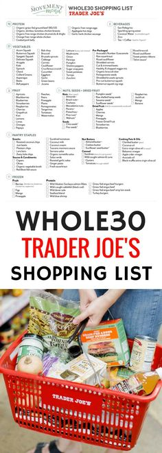 Best Trader Joe's Whole30 Shopping List. Complete with tips and tricks on how to prep for and succeed during your Whole30.