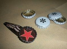 The American Homemaker: Bottle Cap Crafts! I *heart* them!