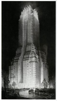 art deco architectural drawings by Hugh Ferriss