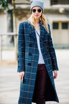 Street Style_ indigo check coat with large button detailing    Saved by Gabby Fincham   