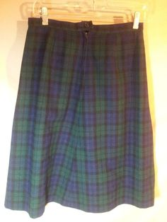 VINTAGE Pendleton Knee Length Straight Pencil Skirt Wool Plaid USA MADE Size-12 #Pendleton #StraightPencil