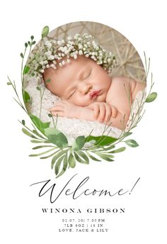 Birth Announcement Template, Announcement Cards, Baby Boy Invitations, Wedding Invitations, Greenery Wreath, Wreaths, Banner Template, Invitation Design, Templates