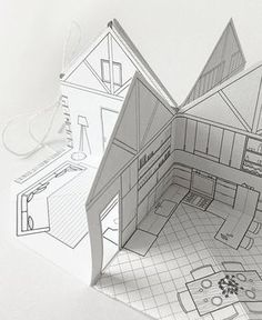 Papier-Kabine kleine Pop-up mit Bildband Skala - Pop Up Art, Arte Pop Up, Paper Doll House, Paper Houses, Architecture Origami, Illustration Book, Libros Pop-up, Paper Pop, Paper Engineering