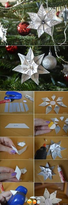 Most inspiring pictures and photos! Paper Christmas Ornaments, Christmas Origami, Christmas Table Decorations, Christmas Crafts, Christmas Projects, Holiday Crafts, Diy Arts And Crafts, Diy Crafts, Paper Stars