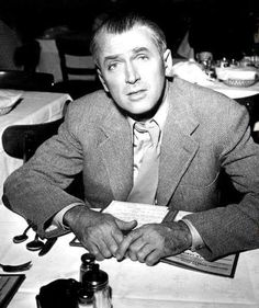 Jimmy Stewart appears stumped over what to order on this menu.