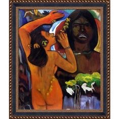 La Pastiche 'Hina, Moon Goddess and Te Fatu, Earth Spirit, 1893' by Paul Gauguin Framed Painting Print
