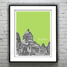 Olympia Washington Poster Skyline Art Print