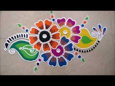Freehand Rangoli Design With Pen Holder. Rangoli Designs Flower, Colorful Rangoli Designs, Rangoli Designs Images, Rangoli Designs Diwali, Kolam Rangoli, Flower Rangoli, Beautiful Rangoli Designs, Art Designs, Peacock Rangoli