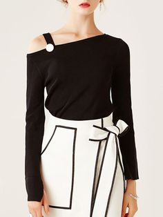 Shop Long Sleeved Tops - Black Long Sleeve One Shoulder Sweater online. Discover unique designers fashion at StyleWe.com.