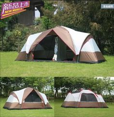 New arrival Fully automatic two hall 6-8 person double layer camping tent/against big rain large family outdoor tent 190cm high #CampingTents101