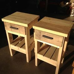 DIY Night stands made from recycled pallets. Up-cycling.