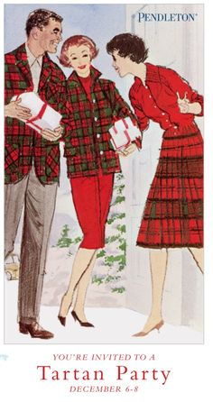 Vintage Pendleton Tartan Party (Mom and I). may have to print this and frame for the sewing room. Tartan Fashion, Retro Fashion, Vintage Fashion, Gothic Fashion, Scottish Plaid, Scottish Tartans, Tweed, Tartan Christmas, Vintage Christmas
