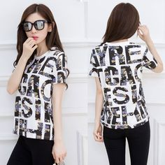 Find More T-Shirts Information about 2016 Summer New Cotton T shirt For Women Letter Printed Casual T Shirts Short Sleeve O Neck Female Tops Tee,High Quality cotton long sleeve blouse,China cotton t-shirt wholesale Suppliers, Cheap cotton white t-shirt from Star Resources on Aliexpress.com