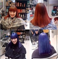 Before and After - Elumen #goldwell bold blue by Kay and Kompany Salon
