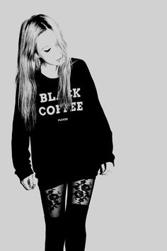 girl, black, black coffee, blonde,