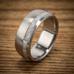 Titanium Meteorite Offset Wedding Band
