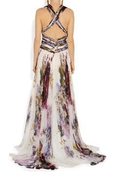 Roberto cavalli Printed Silk-chiffon Gown in Multicolor | Lyst