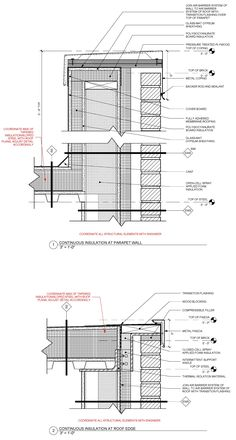 'REVISED' standard detail of metal framed masonry veneer wall with continuous insulation at parapet wall and at roof edge conditions: Masonry Veneer, Masonry Wall, Brick Cladding, Brick Facade, Architecture Drawings, Facade Architecture, Off Grid, Roof Edge, Construction Drawings