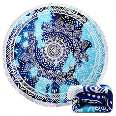 Indian Mandala Microfiber Large Round Beach Blanket with Tassels Ultra Soft Super Water Absorbent Multi-Purpose Towel 59 inch across (NO.10)