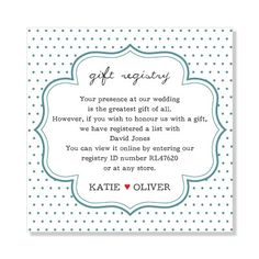 Wedding Gift Registry Wording : Wedding gift registry on Pinterest Wedding registries, Wedding gift ...