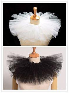 Vintage Lady Mesh Neck Collar Edwardian Ruff Circus Costume Props White Black | eBay