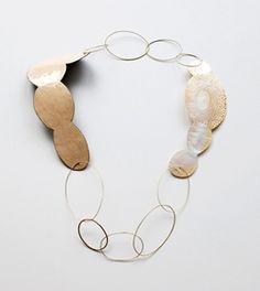 Danni Schwagg collier 2008   mother of pearl, enamel on copper, gold http://www.dannischwaag.de/necklaces.html