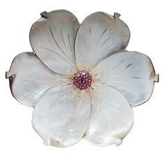 Pearl Lustre Sterling Silver Carved Mother of Pearl Flower & Gemstone Pin - Pearl Lustre - Brooches - Online Shopping for Canadians $289.00