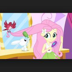 Fluttershy brushing her hair with her pets EG. Fluttershy, Mlp, I Love You Girl, Princess Peach, Disney Princess, Animal Help, Disney Junior, Cartoon Pics, Equestria Girls
