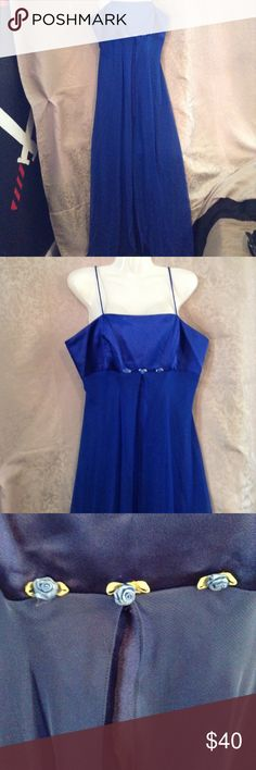 """Royal Blue Prom dress / bride maid dress / all formal occasions/ it's a lose dress, waist is 21 """" .. chest is 16.5 / for D cup :) yes you can take te roses off: the thread is in between leaves , they can be taken off Milano Dresses Prom"""
