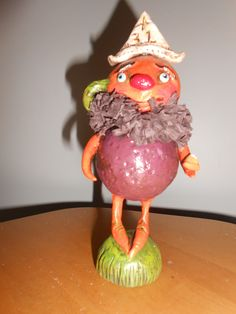 "LITTLE GUY WITH CANDY CORN, Original Debra Schoch 2012. 6.5"" Tall.  Paper Clay Material."