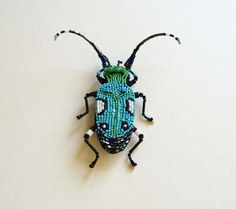 Embroidery Beetle brooch. Japanese bead embroidery by peresvetti