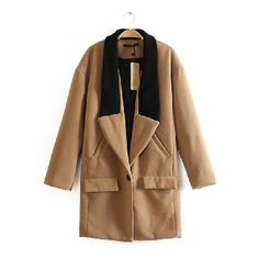Lapel Long Sleeve Pockets Woolen Coat(N1118)