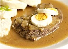 Štěpánský hovězí plátek No Salt Recipes, Cooking Recipes, Stew, Ham, Mashed Potatoes, Menu, Breakfast, Ethnic Recipes, Sauces