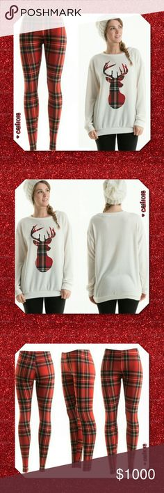 JUST IN2pc Holiday Sweatshirt/Legging Plaid Set New Deer Sublimated Deer Brushed Knit Sweatshirt and Plaid Legging Combo Sweatshirt:  Material: 77% Polyester 19% Rayon 4% Spandex Soft Vintage Varsity Fabric Made in USA Hangs really well on the body  Fit