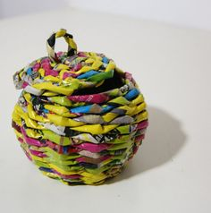 little newspaper basket colorful upcykled design recykled paper basket makkirequ eco paperwicker