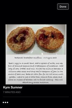 Bakewell breakfast muffins syns each Slimming World Taster Ideas, Slimming World Recipes, Healthy Eating Tips, Healthy Nutrition, Bakewell, Vegetable Drinks, Breakfast Muffins, Tasty Dishes, Meals