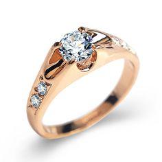 eba557ac94e0 Women s Elegant Ring with White Zirconia. Crystal Engagement RingsColored  ...