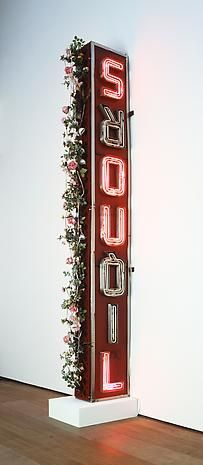 """Nari Ward, """"Palace LiquorsouL,"""" 2010, metal and neon sign, wood with artificial flowers, shoelaces and shoe tips"""