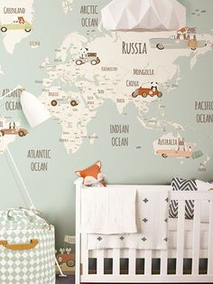 TOP TEN - Blackband Design's favorite wallpaper inspiration for kids rooms. Map of the world wallpaper for the nursery.