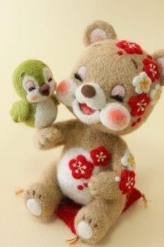 """こぐまの梅ちゃん   Needle felted teddy bear """"Ume-chan"""""""