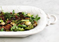 Maple & balsamic roasted brussels sprouts...YUM!