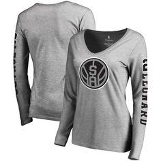 10370869ead44 Kawhi Leonard San Antonio Spurs Fanatics Branded Women s Team Idol Name   Number  Long Sleeve V-Neck T-Shirt - Gray