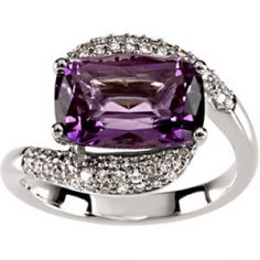amethyst and diamonds, silver ring