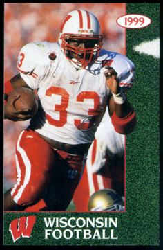 1999 WISCONSIN BADGERS U BOOK STORE FOOTBALL POCKET SCHEDULE RON DAYNE ON COVER #WisconsinBadgers