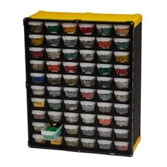 Use as a free-standing organizer or mount to the wall using the rear keyhole access points. This organizer contains 60 individual drawers quick access to your supplies. Stay-close drawers prevent accidental spills should your organizer get tipped over.