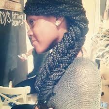 fishtail braid on box braids @Elex