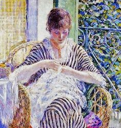 It's About Time: Sewing indoors - American Frederick Carl Frieseke 1874-1939