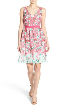 Super cute dress. Love the fit and flare style and the v-neck in front and in back. Vineyard Vines 'Run for the Roses' Silk Fit & Flare Dress available at #Nordstrom